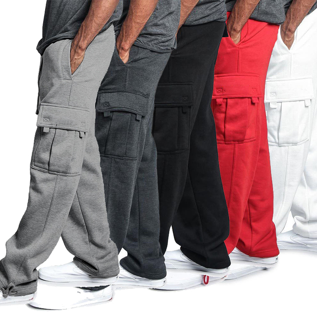 Men Loose Joggers Solid Color Track Pants Casual Trousers Fashion Sports Pants Plus Size