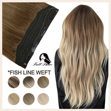 Full Shine Fish Line Hair Weft Halo Crown Hair One Piece With Clips Ombre Color 100% Remy Natural Human Hair Invisible Fish Wire