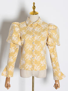 TWOTWINSTYLE Women's Blouses Slim-Shirts Puff Embroidery Long-Sleeve Collar Female Lapel