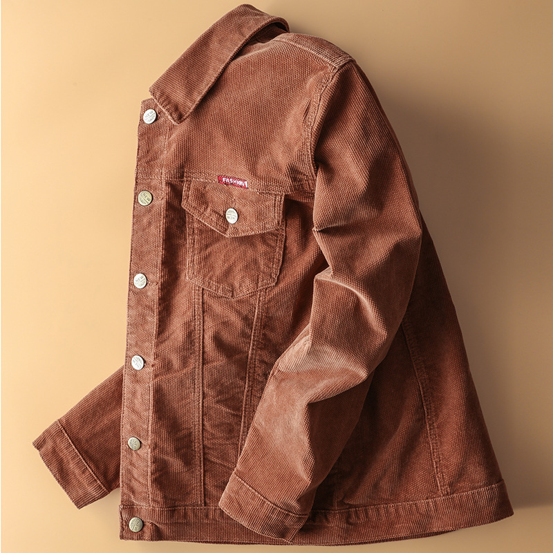 2020 Men Autumn New Style Casual Trend Jacket Corduroy Pure Cotton Solid Color Loose-Fit Fold-down Collar Jacket