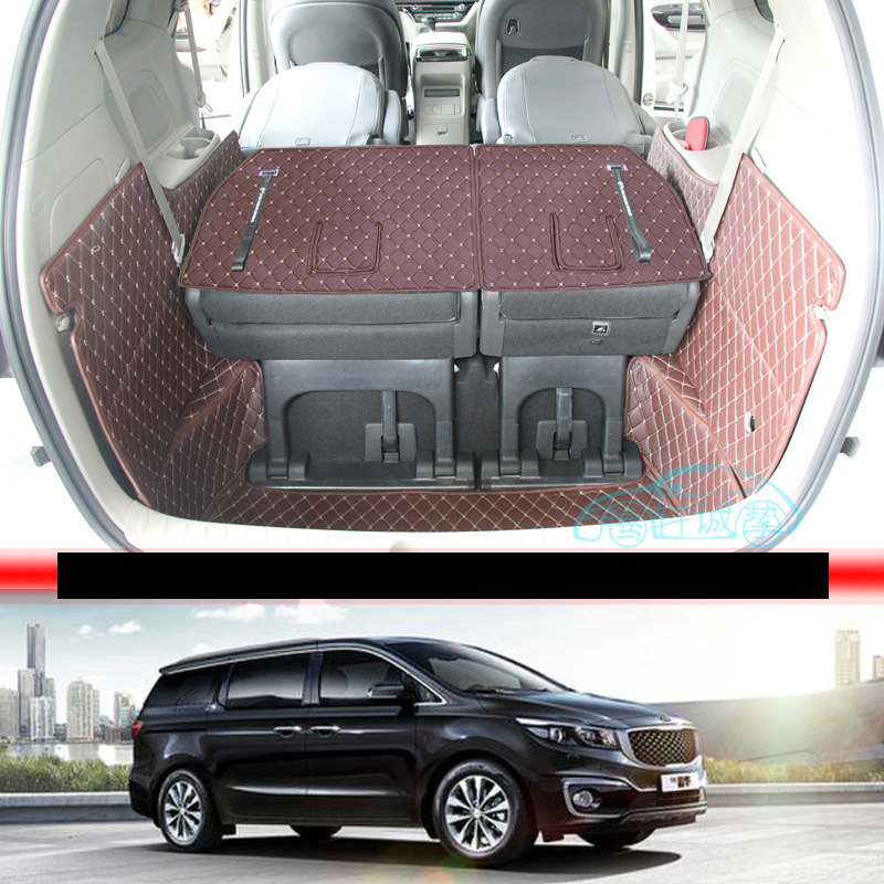 Lsrtw2017 For Kia Carnival Leather Car Trunk Mat Cargo Liner 2016 2017 2018 2019 2020 Grand Carnival  Sedona Accessories Carpet