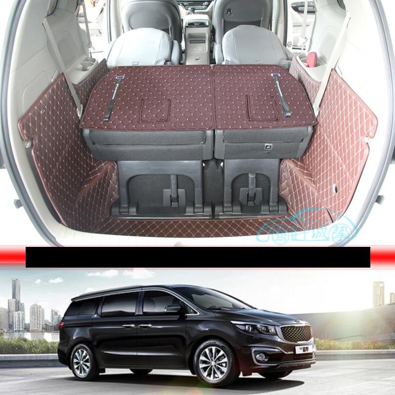 Lsrtw2017 For Kia Carnival Leather Car Trunk Mat Cargo Liner 2016 2017 2018 2019 2020 Grand Carnival  Sedona Accessories Carpet
