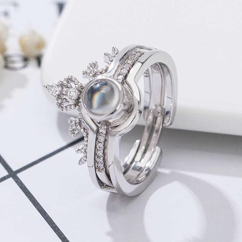 2019 nuevo Anillo de plata de la Corona de las mujeres de la manera 100 idioma te amo anillo de compromiso anillos de boda niñas Accesorios joyería L130
