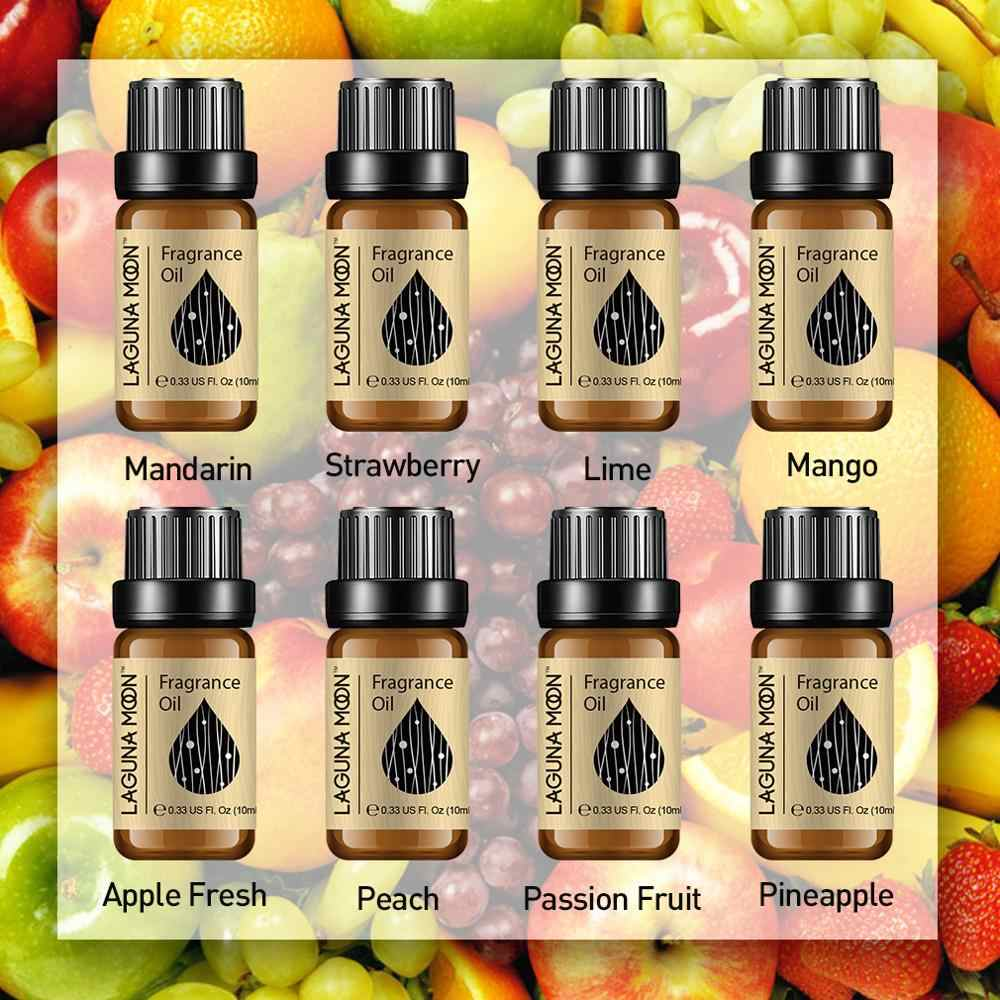Lagunamoon 10 Ml Mango Olio di Fragranza di Lino Fresco Polvere di Bambino di Gomma da Masticare Fragola Muschio Bianco Olio Vegetale Naturale