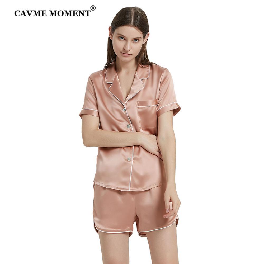 CAVME PLUS SIZE Silk Pajama Set for Women 100% Sleepwear 2 Pieces Short Sleeve Short Pants Solid Color Homewear Homeclothes