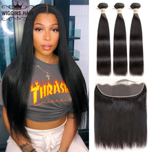 Hair-Bundles Frontal Straight-Hair Brazilian Weave Human Wiggins with Natural-Black 100%Remy