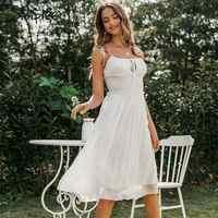 Simplee шифоновое белое платье без рукавов с глубоким v-образным вырезом, с открытой спиной, с рюшами, летнее платье, повседневное, Дамское, шика...