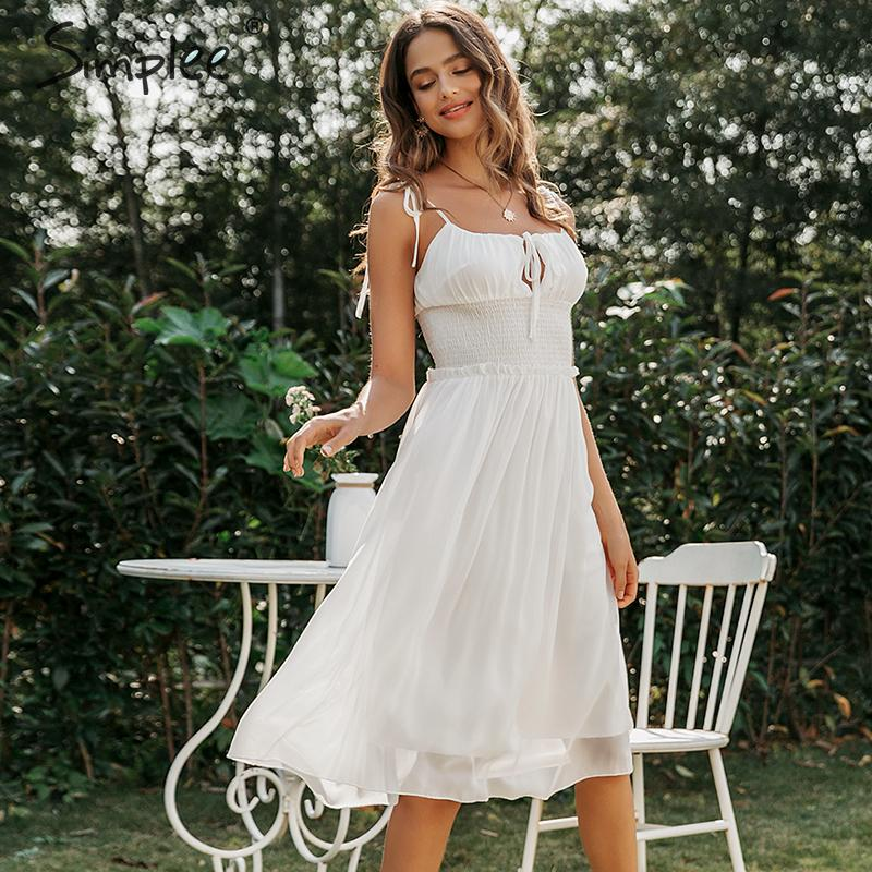 Simplee Sleeveless Chiffon White Dress Deep V-neck Backless Ruched Summer Dress Casual Ladies Chic Solid Holiday Party Dress