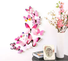 12pcs/3D single layer simulation butterfly suit party kids room wall refrigerator decoration magnetic butterfly