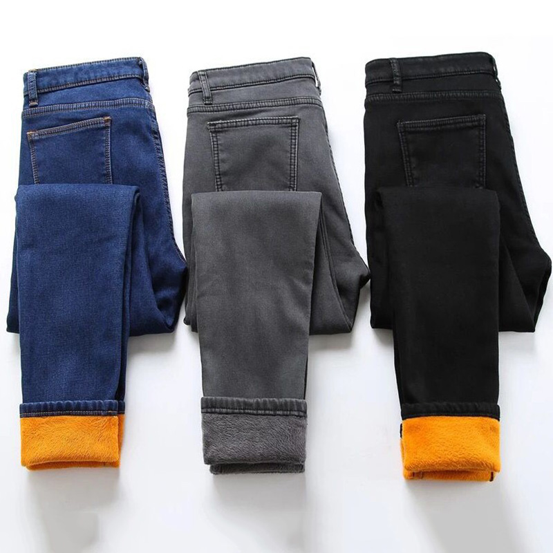 Women's Winter Warm Fleece   Jeans   Fashion High Elastic Waist Skinny Stretch Denim Pencil Pants Plus Size Female Buttons Trousers