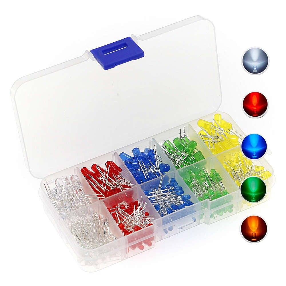 375 pçs/caixa 3mm 5mm diodo emissor de luz led grânulos resistência luzes kits lâmpada 5 cores vermelho branco amarelo verde azul