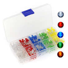 375 Stks/doos 3Mm 5Mm Led Light Emitting Diode Kralen Weerstand Lights Kits Bulb Lamp 5 Kleuren Rood Wit geel Groen Blauw