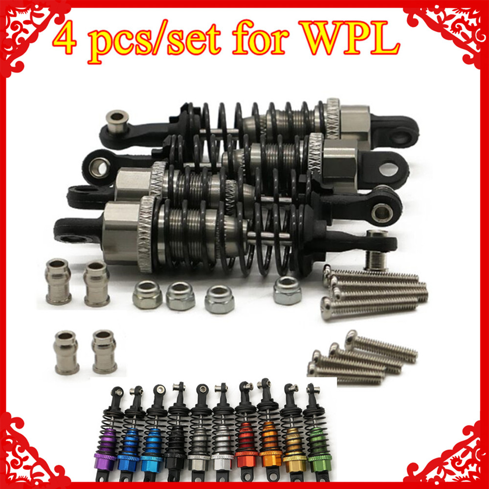 4 Pcs/set X Oil Filled Type Shock Absorber For 1/16 WPL Henglong C14 C24 4x4 Pick-up Truck Crawler Hopup Upgrade Parts