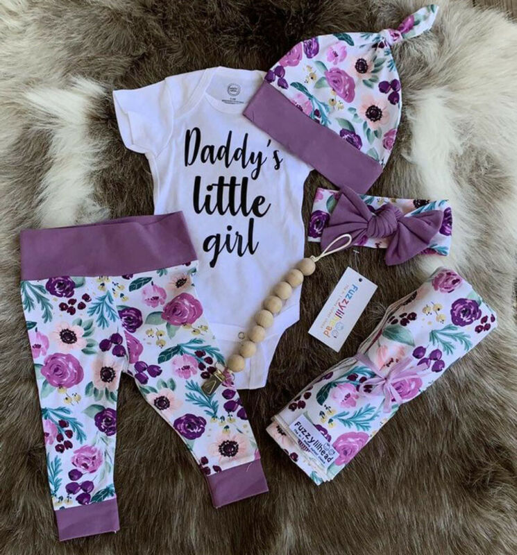 US Newborn Baby Daddys Little Girl Romper Long Pants Hat Outfit Clothes 4PCS Set