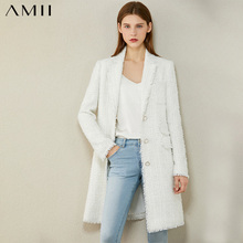 AMII Minimalism Autumn Winter Fashion Tweed Jacket Temperament Plaid Lapel Single-breasted Long Blazer Women Coat  12070378