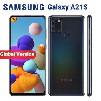 Перейти на Алиэкспресс и купить Глобальная версия Samsung Galaxy A21s A217F/DS 4 Гб 64 Гб мобильный телефон 5000 мАч Восьмиядерный 6,5 дюймQuad Camera 48MP Dual SIM 4G смартфон