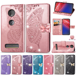 На Алиэкспресс купить чехол для смартфона luxury embossing pu leather case sfor motorola moto z4 e6 e6 plus g7 z4 play case point drill butterfly flip wallet phone cover