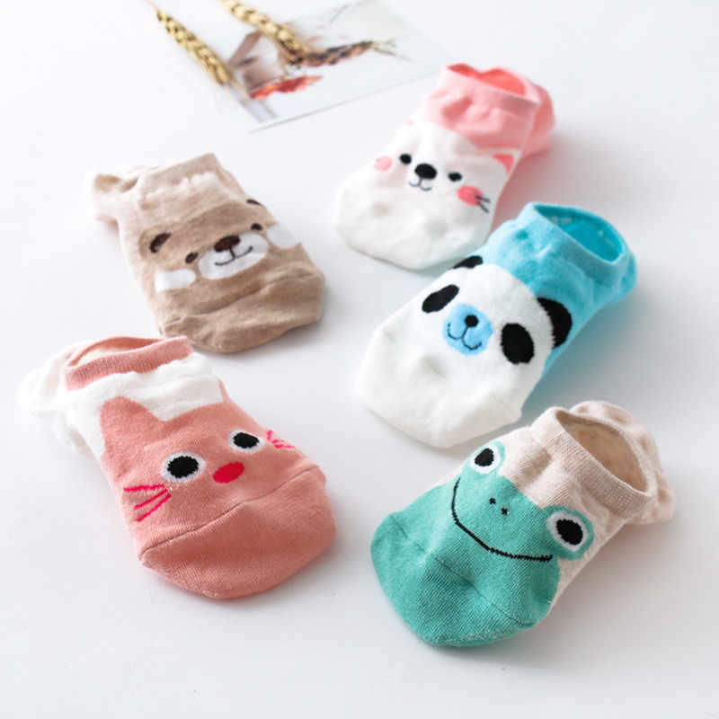 1Pair Women funny Socks bear frog panda cat Sock Comfortable Stripe Cotton Breathable cute Short Ankle Socks harajuku Hot F93