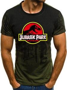 Image 3 - ملابس جديدة للرجال من Jurassic Park تي شيرت بأكمام قصيرة على شكل ديناصور تي شيرت علوي للجنسين ملابس عالمية من Jurassic
