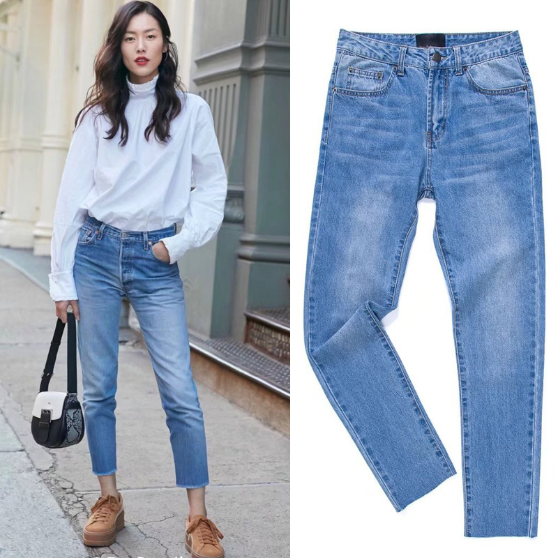 2019 Spring New Style Liu Wen Celebrity Style Retro High-waisted Washing Faded Non-Elasticity Burrs Jeans Women's