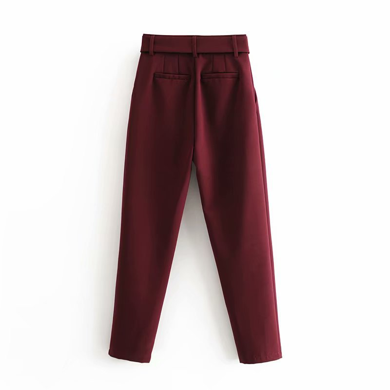 Hece059b635474bd0a0826f6c594810306 - Office Lady Black Suit Pants With Belt Women High Waist Solid Long Trousers Fashion Pockets Pantalones FICUSRONG Pencil