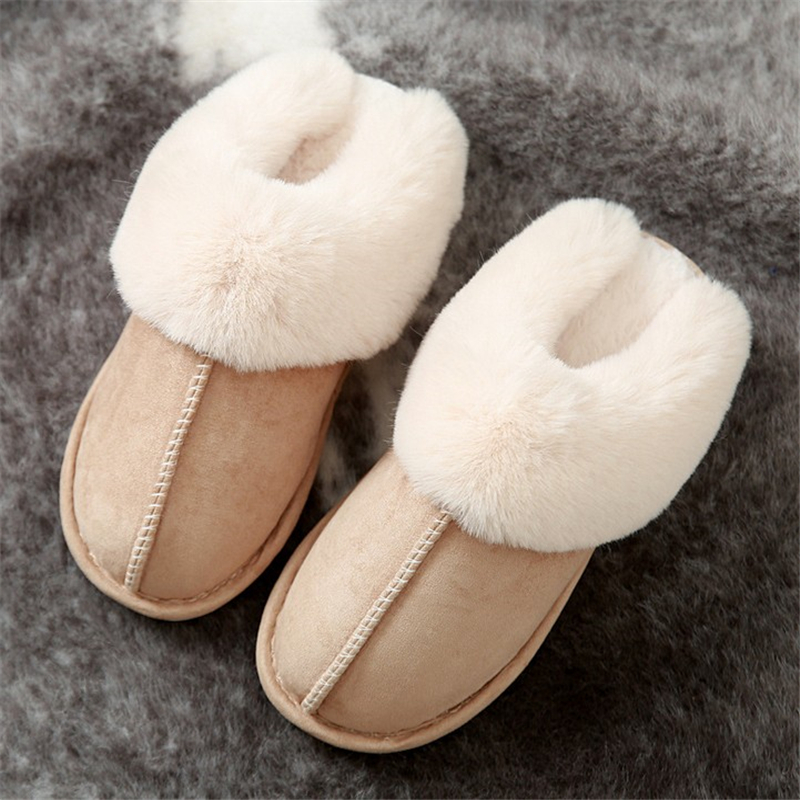 JIANBUDAN Indoor plush comfortable soft slippers Men and women winter warm home shoes Flat suede plush Female Cotton shoes 5