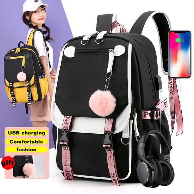 BPZMD Women girls School Backpacks Anti Theft USB Charge Backpack Waterproof Bagpack School Bags Teenage Travel Bag