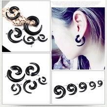 Ox Horn Rams Shape Punk Style Trendy Black Fashion Stud Earring for Women 2019 Anti Allergy Jewellery Gift 3cm 4cm 8cm