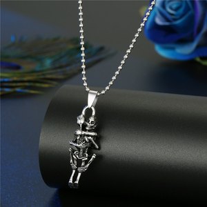 Image 3 - Hiphop Rock Animal Skeleton Skull Spider Fish Bone Necklaces Pendant For Men Women Personality Beads Sweater Chains Jewelry N95