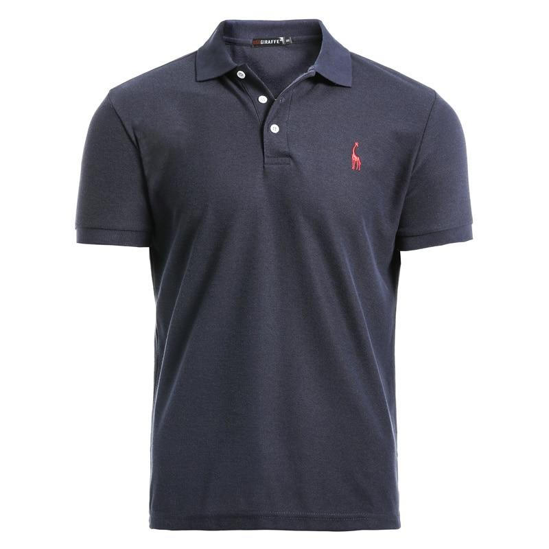 Мужская рубашка поло NEGIZBER, повседневная хлопковая рубашка поло с вышивкой оленя, Мужская рубашка поло с коротким рукавом, высокое количество