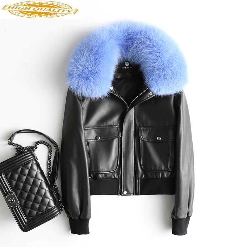 100% Sheepskin Coat Female Fox Fur Collar Down Jackets 2020 Winter Jacket Women Genuine Leather Jacket Chaqueta Mujer MY