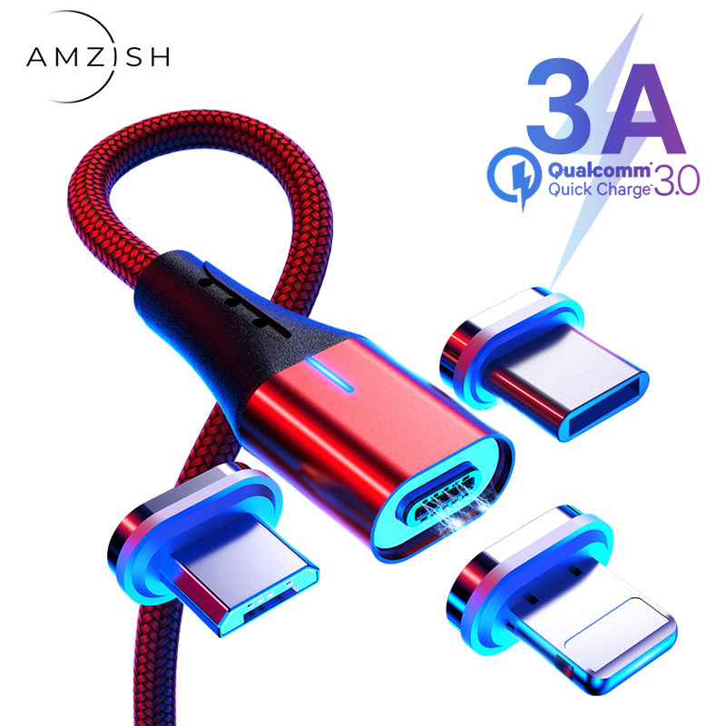 amzish 3A Magnetic Micro USB Cable For iPhone Samsung Data USB Type C Cable Fast Charger