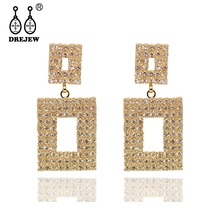 DREJEW Square Geometric Gold Silver Rose Crystal Statement Earrings 2019 Luxury 925 Drop Sets for Women Jewelry HE315