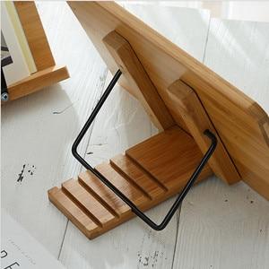 Image 3 - Tablette de lecture, support de livre pliable, réglage de la hauteur, pour salle détude, cuisine, support de livre pliable, Pages fixes en bambou
