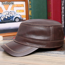 SILOQIN Genuine Leather Hat Snapback Man Woman Autumn Winter Quality Cowhide Military Hats Adjustable Size Leisure Warm Flat Cap