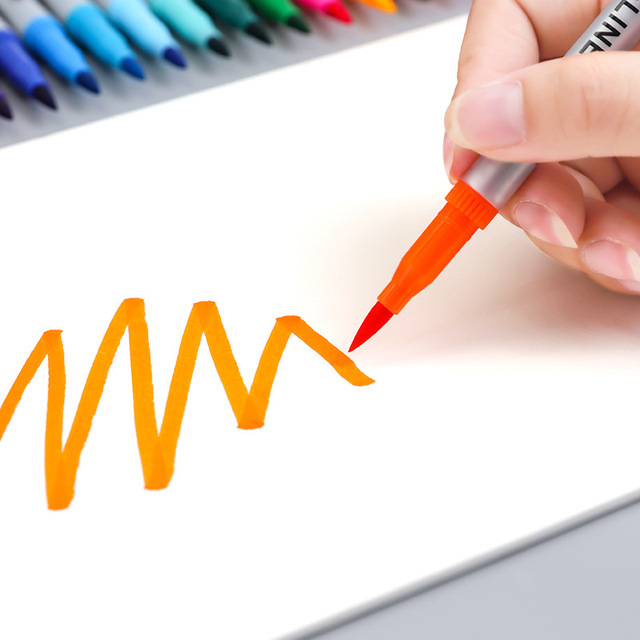 Фото 12/24 цвета двухсторонний мягкий наконечник маркер для рисования