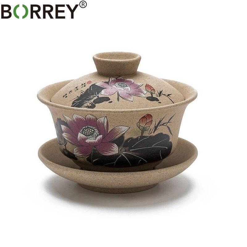 BORREY Pottery Gaiwan Chinese Kung Fu Tea Set Ceramic Tea Cup With Saucers Lotus Bamboo Gaiwan Pu'er Teapot Travel Tea Sets