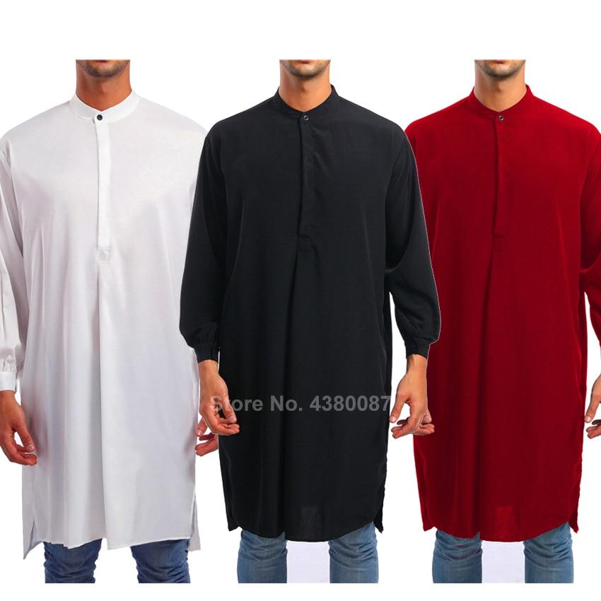 YYear Men Arab Long Sleeve Relaxed Fit Ramadan Muslim Thobe Solid Long Shirt