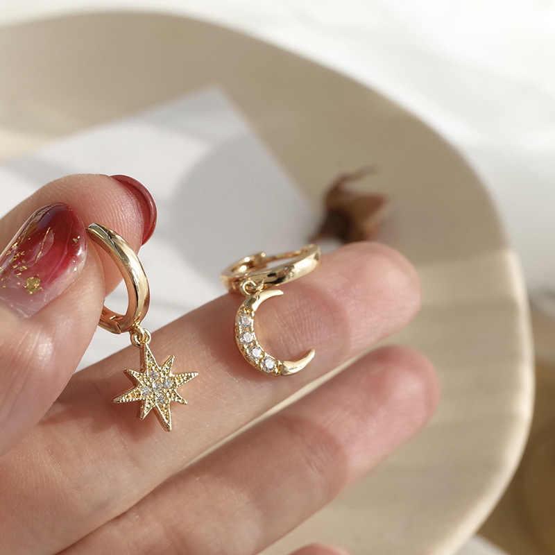 Małe złote kolczyki kołowe dla kobiet obręcze motyl gwiazdkowe kolczyki kolczyki rhinestone okrągłe kolczyki koła czarny thcik