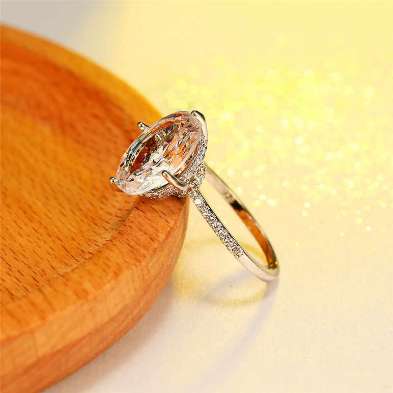 Vintage Vrouwelijke Witte Crystal Stone Ring Luxe Goud Zilver Dunne Trouwringen Voor Vrouwen Minimalistische Bridal Oval Engagement Ring
