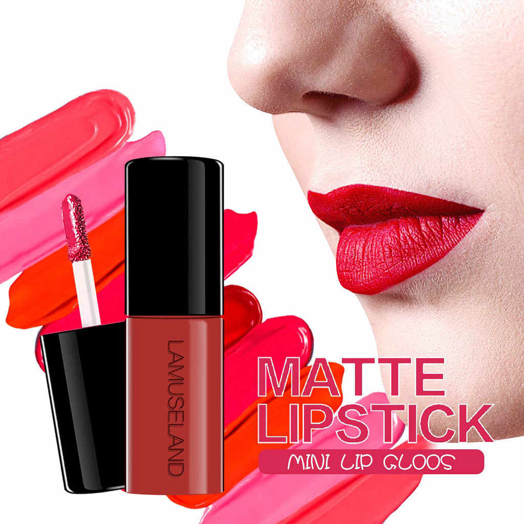 12 Warna Mini Matte Lipgloss Lipstik Seksi Matte Tahan Air Tahan Lama Telanjang Velour Sentuh Lucu Lip Gloss Kosmetik