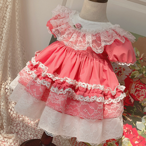 Нарядное платье принцессы в стиле испанской Лолиты, милое кружевное платье с вышивкой для маленьких девочек, бальное платье для дня рождени...