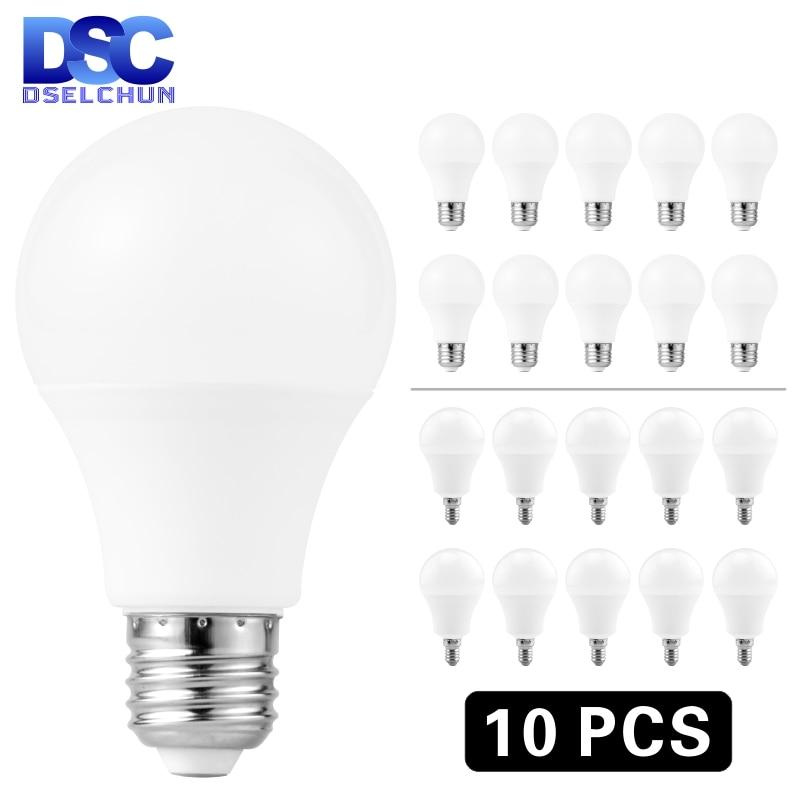 10 pçs/lote E27 E14 Lâmpadas LED Bulbo 3W 6W 9W 12W 15W 18W 20W Lampada LED Light Bulb AC 220V-240V Bombilla Spotlight Frio/Branco Quente
