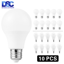 10 pçs/lote E27 E14 Lâmpadas LED Bulbo 3W 6W 9W 12W 15W 18W 20W Lampada LED Light Bulb AC 220 V-240 V Bombilla Spotlight Frio/Branco Quente(China)