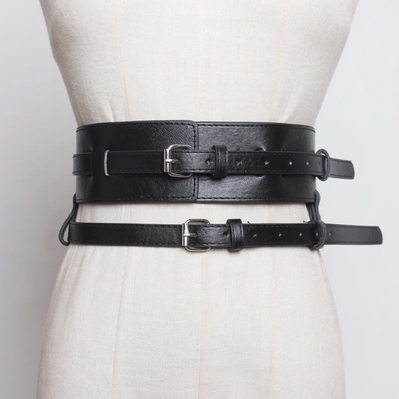 All-match 2020 New Spring Fashion Belts For Women Solid Black Leather Double Layer Corset Belt Waistband Female Stylish ZK419