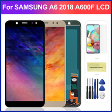 5.6 A600 Adjust Brightness LCD For Samsung Galaxy A6 2018 A600F A600FN LCD Display Touch Screen Digitizer With tempered glass