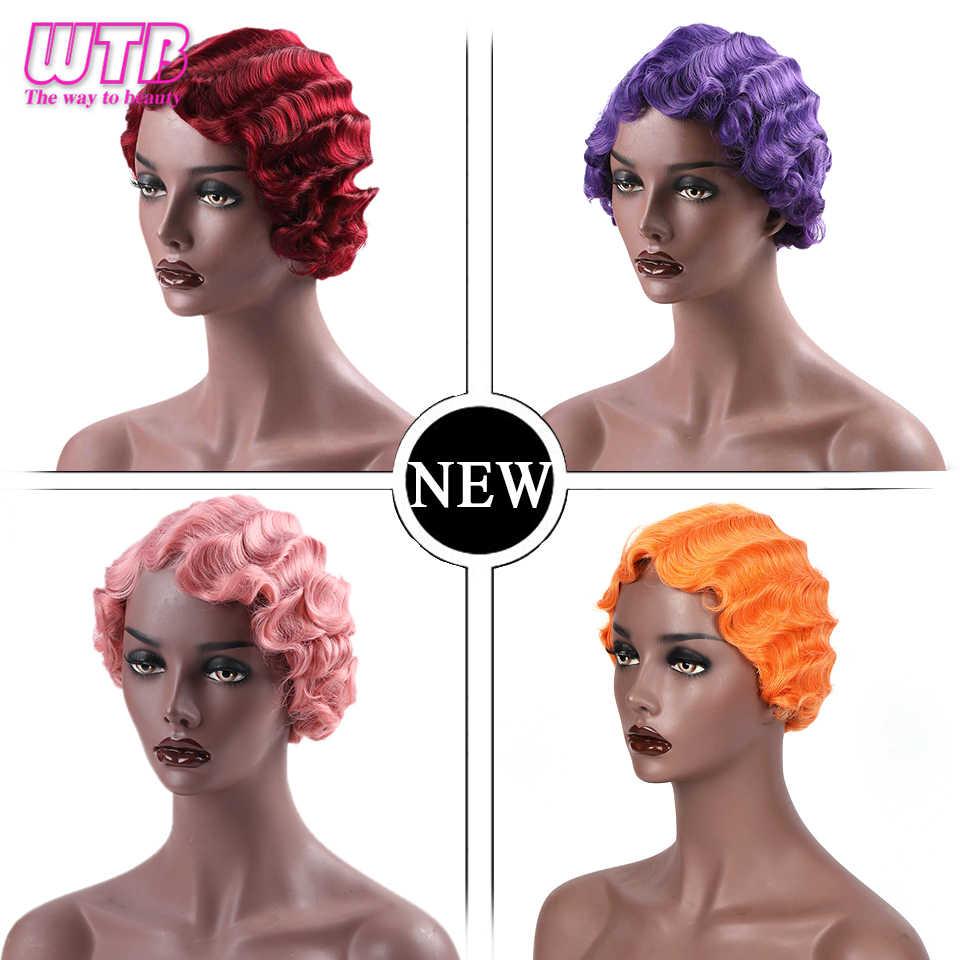 WTB Kurze Nette Wine Red Synthetische Perücke für Frauen Lila Rosa Finger Wellen Perücken für African American Cosplay Gefälschte Haar