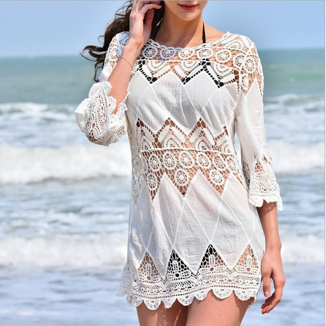 Women's Clothing Beachwear Mid-length Porous Crochet Knit Overclothes Bikini Swimsuit Outdoor Blouse