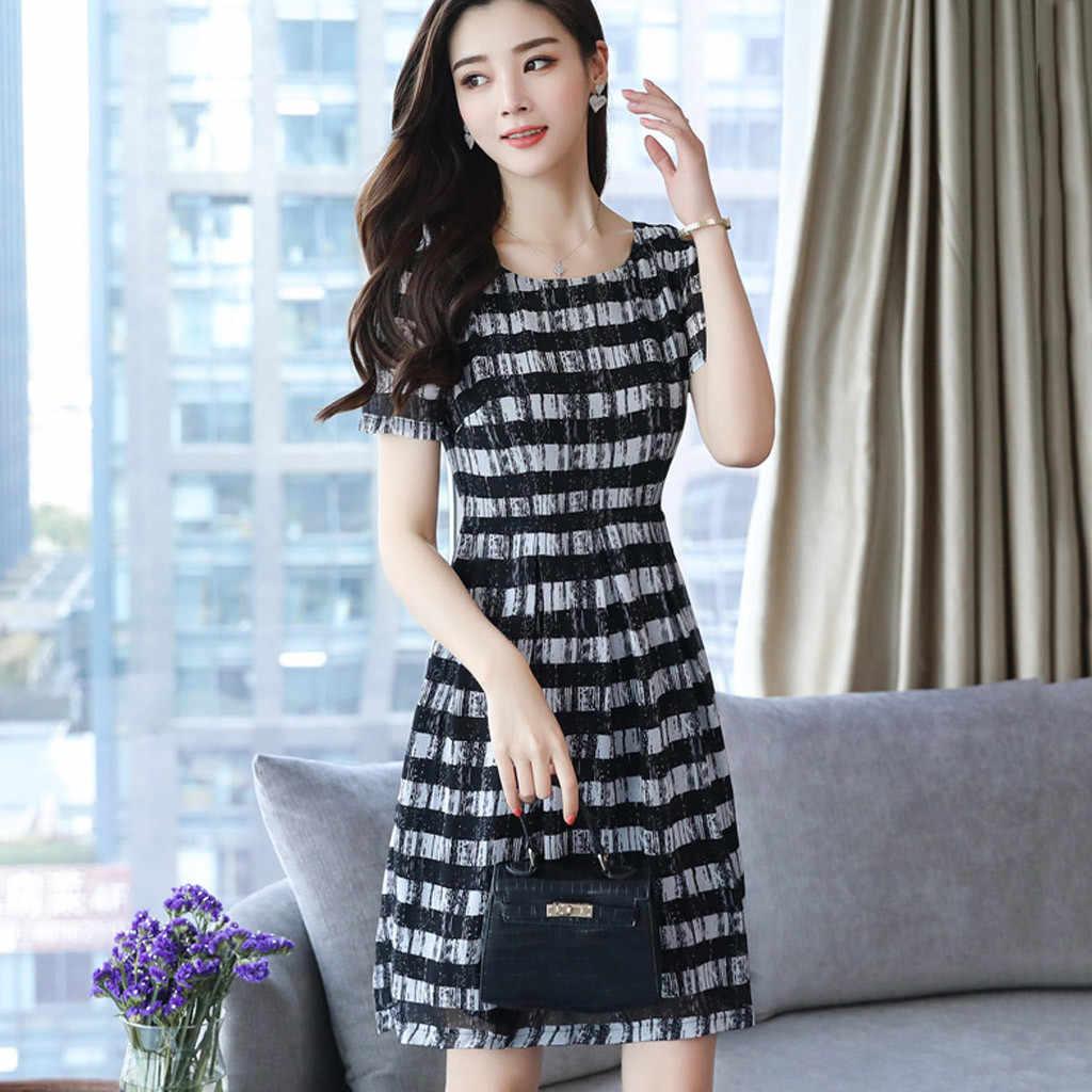 SAGACE 우아한 여성 드레스 스트라이프 o-넥 드레스 짧은 소매 허리 드레스 2020 여름 섹시한 미니 드레스 여성 패션 Vestidos