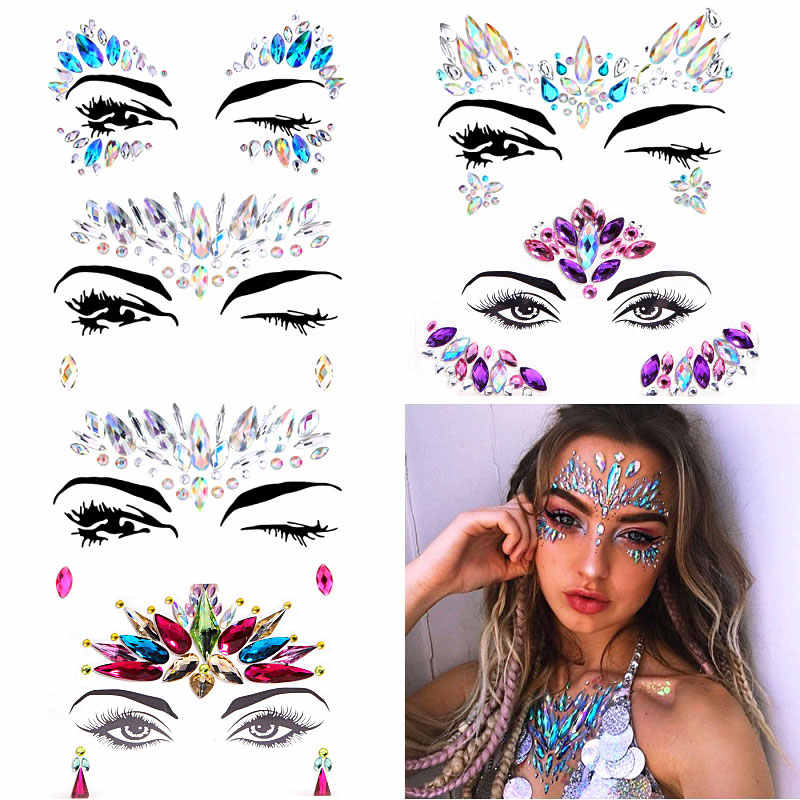 Festival Viso Gioielli di Cristallo Autoadesivi Del Corpo di Make Up Viso Gemme di Scintillio di Strass Viso Sticker per Il Festival Party Dress Up F0118